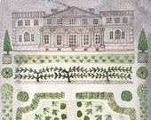 Spring Garden, Manor House, original watercolor painting, botanical painting, floral art