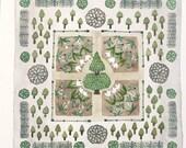 Spring Garden, Tulip Parterre, original watercolor painting, botanical painting, parterre garden