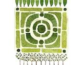 Knot Garden No. 1 Print, watercolor reproduction, giclee print, garden plan, english garden illustration, botanicals