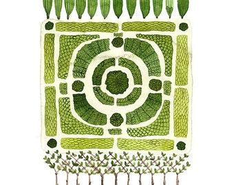 LARGE Knot Garden Nr. 1 Grafik, Giclee print, Garten planen, englischer Garten Illustration, pflanzlichen Stoffen, Aquarell Reproduktion