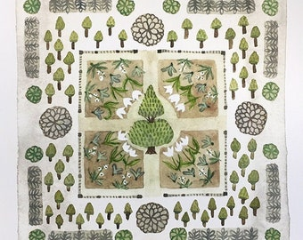 LARGE Spring Garden Tulip Parterre Print, giclee print, garden plan, english garden illustration, botanicals, watercolor reproduction