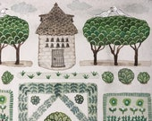 Spring Garden, Dovecote, original watercolor painting, botanical painting, parterre garden