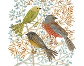 Songbirds Print, bird art, giclee print, woodland watercolor art print