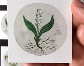 Lily of the Valley No. 1, miniature painting, original watercolor painting, botanical painting, woodland flowers