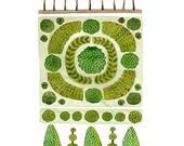 Parterre Garden No. 2 Print, watercolor reproduction, giclee print, garden plan, english garden illustration, botanicals, topiary