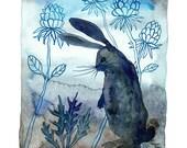 LARGE Midnight in the Garden Print, bunny rabbit print, wild hare illustration, critter art, giclee art print, woodland, nursery art, water