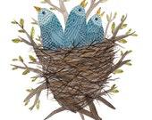 Fledglings No. 2 bluebirds original watercolor painting