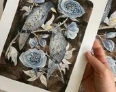 Nightfall Print, bird art, doves illustration, giclee art print, watercolor print, moonlight rose garden art