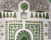 Spring Garden, Walled Potager, original watercolor painting, botanical painting, parterre garden