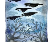 LARGE Midnight in the Garden, Geese Print, giclee print, watercolor bird art, large print