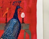 LARGE The Peacock Room, bird art illustration, giclee art print, watercolor print, vermillion red, 13 x 19 inches