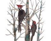 LARGE Woodpeckers in the Forest  Print,  bird art, woodland art, watercolor print, 13 x 19