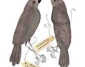 Raven Specimens Print, unrequieted love, black birds, bird art, watercolor print