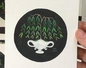 Weeping Willow No. 3, miniature painting, original watercolor painting, botanical painting