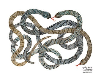 Writhing Snakes Print, giclee art print, watercolor reproduction print, reptile illustration