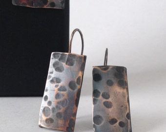 Hammered Bronze Earrings - Modern Minimal Bronze Jewelry - 19th Anniversary Gift -  Bronze Anniversary