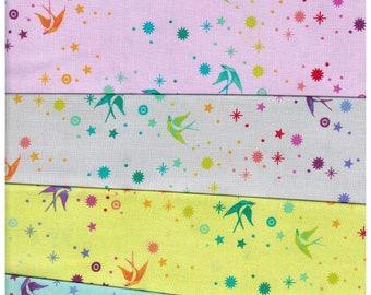 Tula Pink (5) Five - 1/3 yard fabrics True Colors - Fairy Dust Collection Bundle for Free Spirit Fabrics