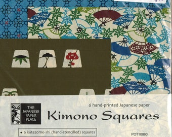 Sale! Kimono Squares Katazome-shi 6 unique hand stencilled printed Japanese papers for art collage origami scrapbooking mixed media paperart