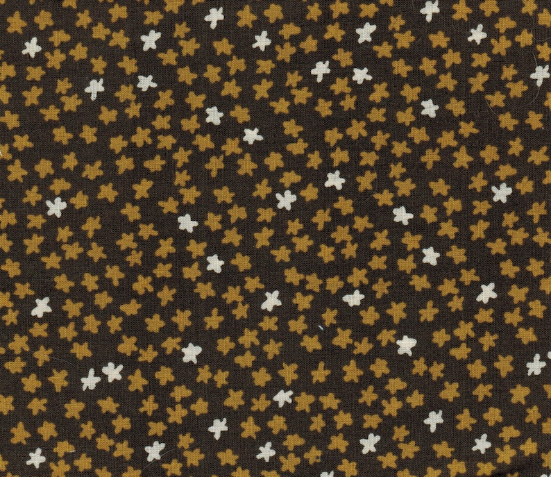 Sale 1/2 yard Quarter Brown Stars Cloud 9 Organic Fabric Moss image 0