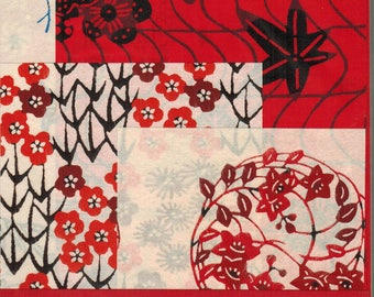 Sale! Katazome-shi Mini Potluck - 5 traditional hand stencilled Japanese papers for art collage origami scrapbooking mixed media