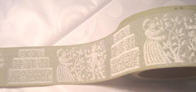 Sale 1 yard of 2 wide Wedding Light Sage Ribbon Woven image 0