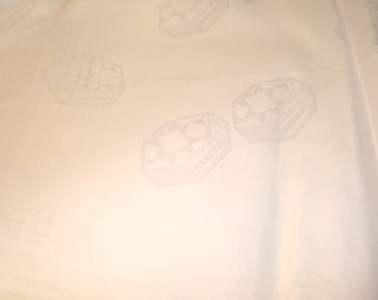 """Sale African Bazin Riche bright WHITE cotton geometric shapes Jacquard 50"""" wide - images DARKENED to see geometric design"""