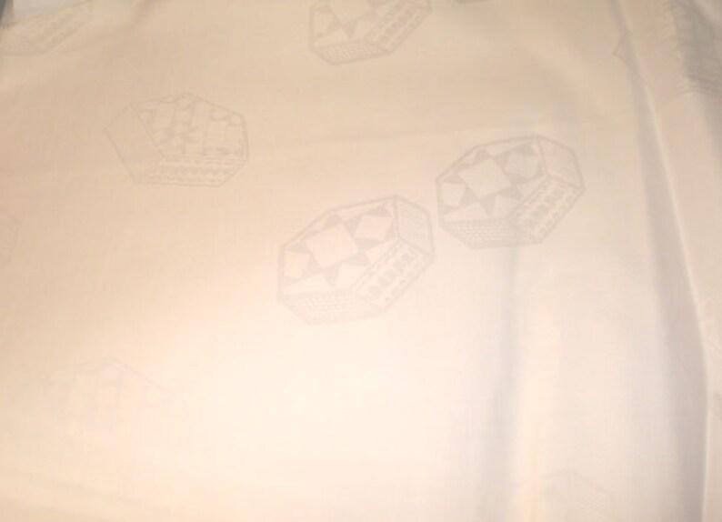 Sale African Bazin Riche bright WHITE cotton geometric shapes image 0