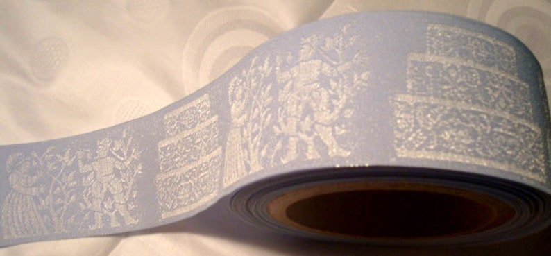 Sale Wedding Light Blue Ribbon Woven jacquard designed by image 0