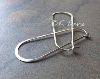 Opalite Earrings-18 Gauge Horseshoe Hoops-Everyday Earrings-Opalite Rondelles-Sterling Silver Hoops-Oval Hoop Earrings-Ready To Ship