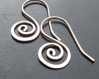 Small Silver Hoop Earrings Coiled Silver Open Hoop, Unfurled minimalist jewelry, womens gift for her