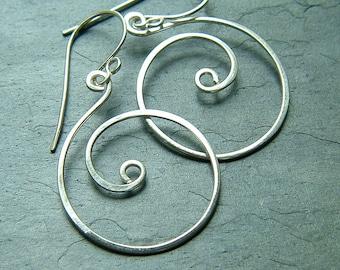 Hoop Earrings Coiled Hoops Sterling Silver Dangle Hoop Earrings for womens gift Statement Jewelry