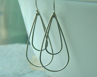 Silver Teardrop Hoop Earrings Dangle earring, Long Loop Hoops, handmade jewelry gift for her
