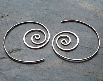 Silver Spiral Hoop Earrings Unraveling Sterling Silver Hoops Coiled Hoop jewelry womens gift for her, wife gift, statement earrings