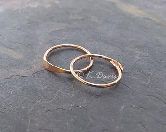 Rose Gold Hoop Earrings, Minimal Hoops, Simple Sleeper Hoop Earring, Open Hoops, choose your custom size hoop, jewelry gift for her