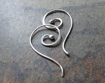 Silver Bud Earring Dangles, Swirl Open Hoops, Coiled Silver Earrings womens jewelry gift for her, handmade hoop earrings, custom earring