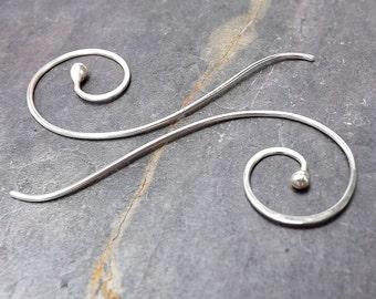 Silver Threader Earrings, Coiled Threaders, Long Open Hoop Threader Dangles, Long Bud Earrings womens gift for her