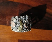 Sterling Silver Brutalist Collage Ring size 5.5 US