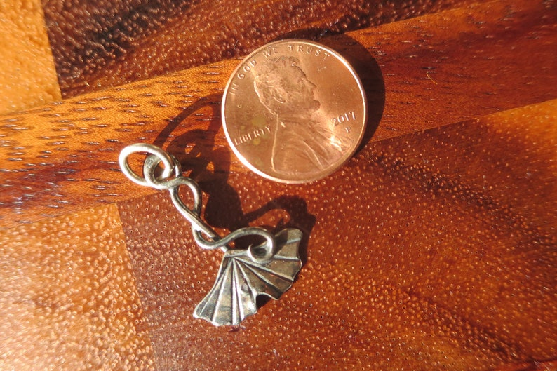 Small Blackened Sterling Silver Brutalist Ginkgo Leaf and Tendril Pendant