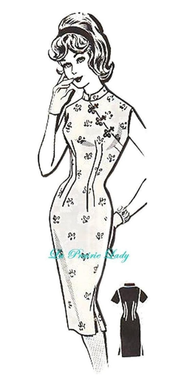 1960s Sewing Patterns | 1970s Sewing Patterns Repro Vintage Pattern Chinese Sheath Dress later 1950s No 7 on Printable PDF Bust 32-33 $8.39 AT vintagedancer.com