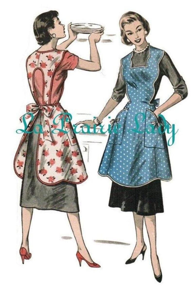 Vintage Aprons, Retro Aprons, Old Fashioned Aprons & Patterns Vintage Full Apron 50s PDF Pattern No 22 Available in M-L-XL $5.87 AT vintagedancer.com