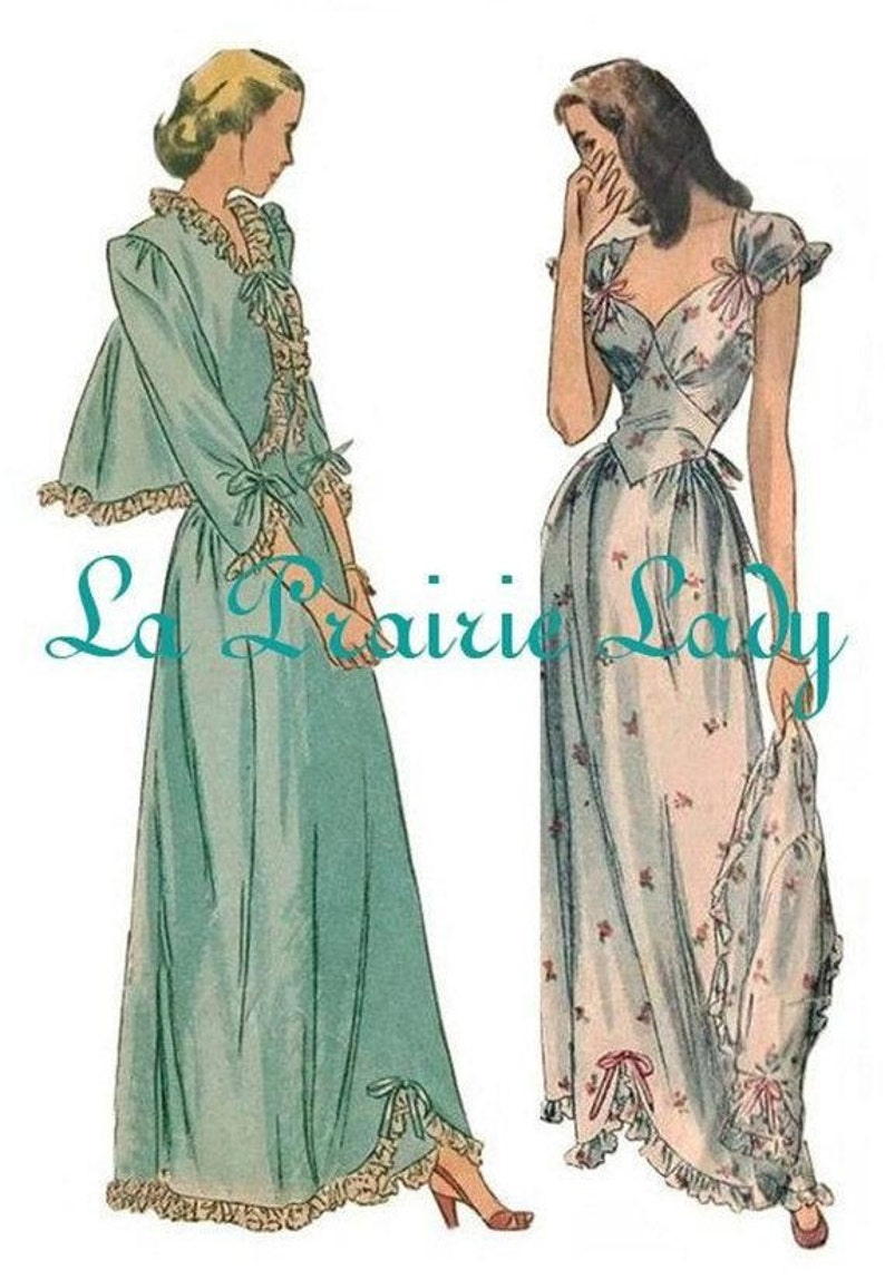 1940s Sewing Patterns – Dresses, Overalls, Lingerie etc Repro Vintage Pattern Nightgown and Bed Jacket 40s No 2 on Printable PDF Multi Sizes $8.39 AT vintagedancer.com