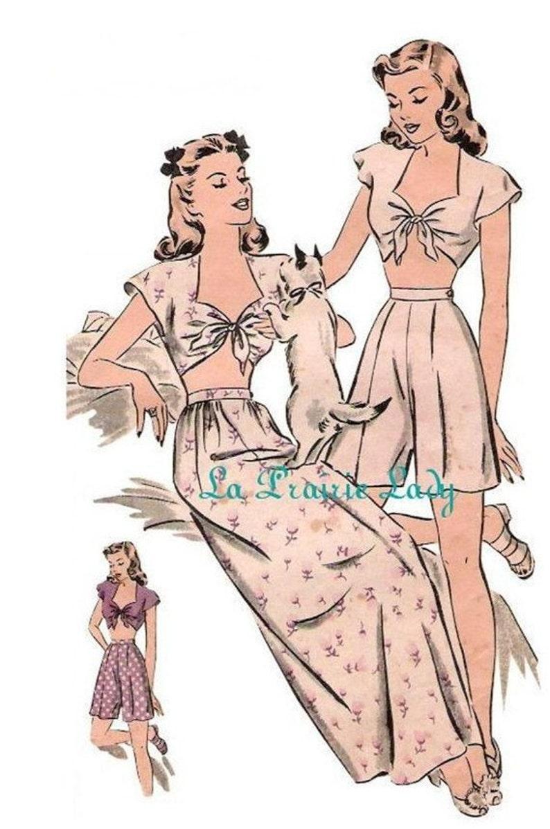 1940s Sewing Patterns – Dresses, Overalls, Lingerie etc Repro Vintage Pattern Pajama or Playsuit 40s No1 on Printable PDF B34 $8.39 AT vintagedancer.com