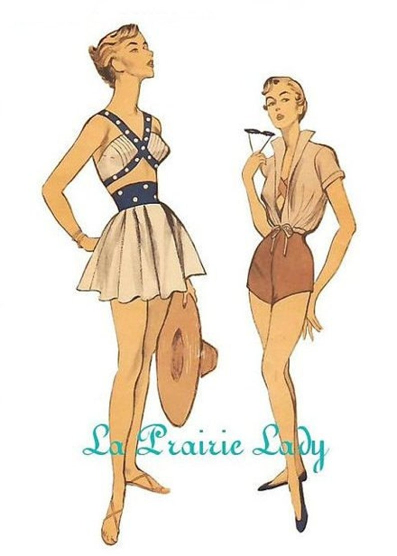 1950s Sewing Patterns | Dresses, Skirts, Tops, Mens Repro Vintage Pattern Playsuit/Swimsuit 50s No 3 on Printable PDF B34 $11.17 AT vintagedancer.com