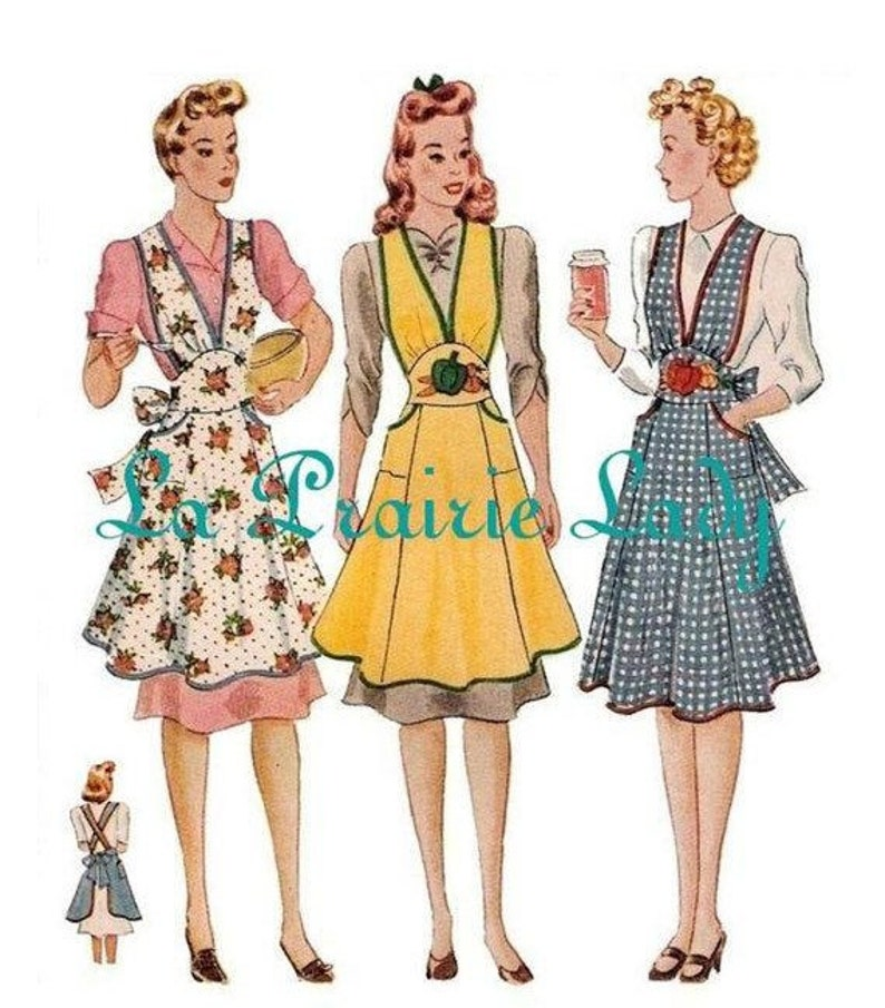 Vintage Aprons, Retro Aprons, Old Fashioned Aprons & Patterns Repro Vintage Full Apron 40s PDF Pattern No 4 Available in M-L-XL $5.87 AT vintagedancer.com