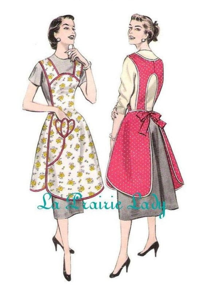 Vintage Aprons, Retro Aprons, Old Fashioned Aprons & Patterns Repro Vintage Full Apron 50s PDF Pattern No 33 Available in M-L-XL $5.59 AT vintagedancer.com