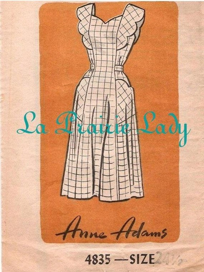 Vintage Aprons, Retro Aprons, Old Fashioned Aprons & Patterns Repro Vintage Full Apron 40s Pattern on PDF No 20 Plus Size 24 1/2 $5.59 AT vintagedancer.com