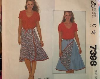 vintage McCall's pattern 7398 80's reversible wrap skirt uncut easy size medium