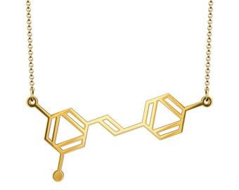 Small Resveratrol Molecule Necklace - Gold