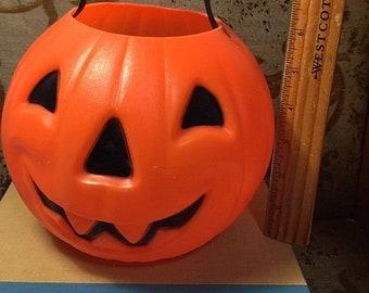 1980 Vintage JOL Jack-o-lantern Pumpkin Carolina Enterprises Trick or Treat Pail Candy Bucket Halloween