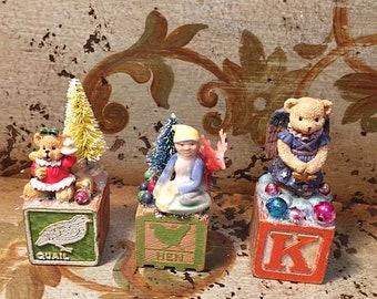 Hand Carved Wood Bear Angel Christmas Ornament